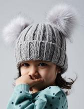 Infant Faux Fur Double Pom Pom Beanie
