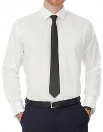 Poplin Shirt Black Tie Long Sleeve / Men